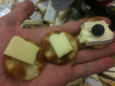 fancycwabs:  They were handing out cheese samples at Publix when I went to grab a sandwich for munch. The Gouda had already been consumed at the time of this photo. (It should be noted that I don't take all the cheese samples as a rule. The samplemaster insisted I try one of each.)   WHY DON'T YOU TRY ALL THE SAMPLES? YOU SHOULD TRY ALL THE SAMPLES. THAT'S WHY THEY ARE THERE. SO YOU CAN SAMPLE. S A M P L E MEANS TRY THEM ALL. WHAT ARE YOU SOME UNSELFISH JERK?