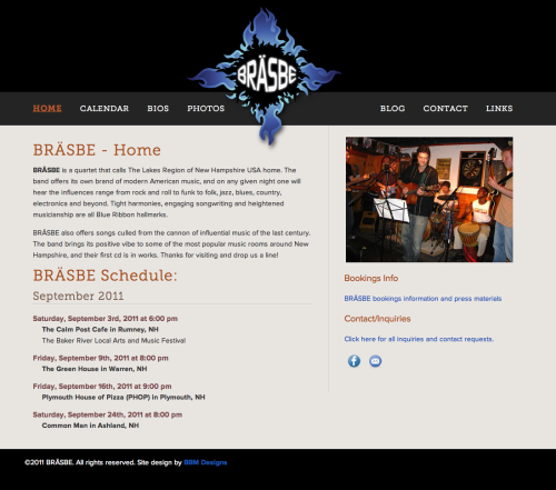 Redesign of the BRASBE band website