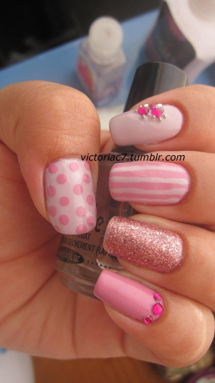 victoriac7:  Pretty much redid a previous mani using different colors.  I know some people won't repeat manis, but I will do the same mani a million times if I like it and just change up the colors.  That's just me though! Colors used:  OPI - Sparrow Me The Drama OPI - Steady As She Rose Ulta Salon Formula - Tink-Her-Bell