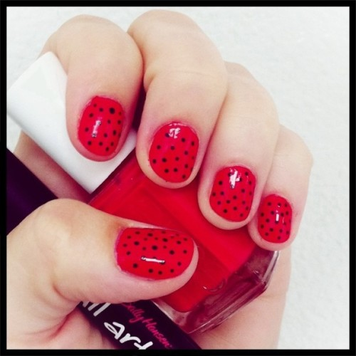 My latest manicure reminds me of ladybugs! (Taken with instagram)