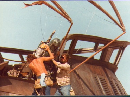 I've never seen these behind the scenes photos of Boba Fett on Jabba's sail barge. It reminds me of the spy photos we're seeing from The Avengers set today. See more Fett photos at Ain't It Cool News.