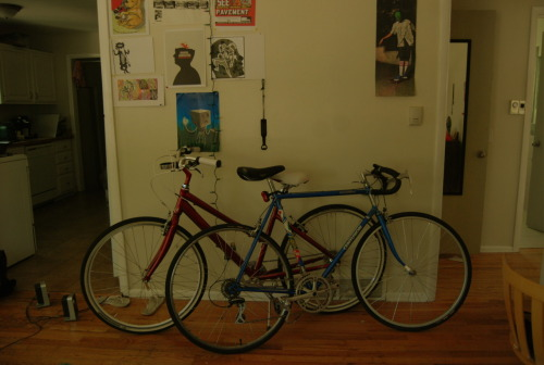 Our bikes were cuddling the other day <3