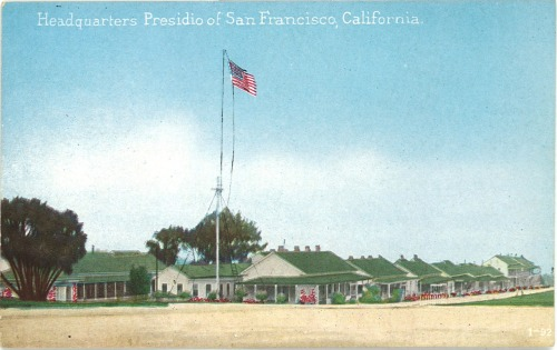 "No. 63: COLLECT Early 20th century vintage postcard of the Presidio in San Francisco.   ""Or don't you like to write letters. I do because it's such a swell way to keep from working and yet feel you've done something.""  - Ernest Hemingway in a letter to F. Scott Fitzgerald (1 July 1925); published in Ernest Hemingway : Selected Letters 1917-1961"