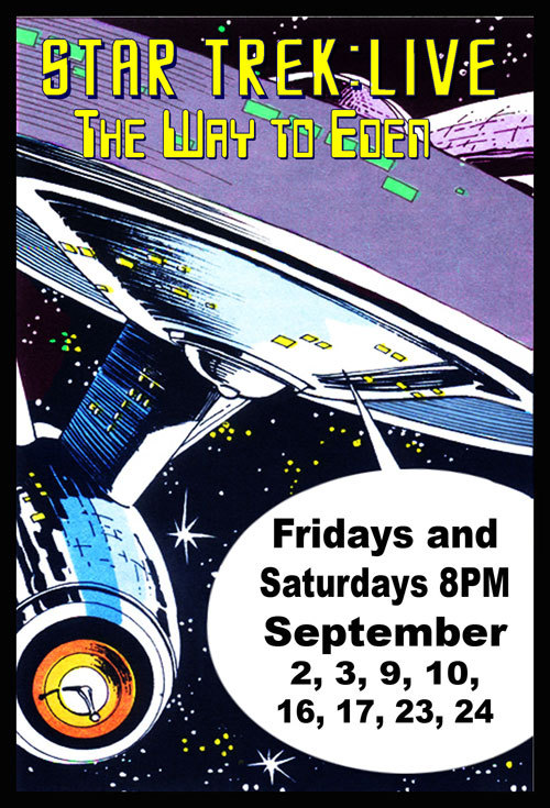 "9/2. Star Trek Live: The Way to Eden (Opening Day) @ Dark Room Theater. SF. 2263 Mission St. $20. 8 PM.   Space: the final frontier. The Enterprise has been given a brand  new mission, to seek out new life and civilization, so they can get down  with the Federation! Yes Sci-Fi fans, pandemonium reigns when a bunch  of ""Space Hippies"" beam on to the Enterprise and cause trouble,  exercise free love and play that damn rock and roll that is corrupting  kids even centuries from now! Come and be one with us as we gleefully  pay homage to this anachronistic original episode, dripping with overly  wrought metaphors and lame social commentary!  As our favorite halfblooded Vulcan would say, it will be fascinating.  (via Dark Room SF )"