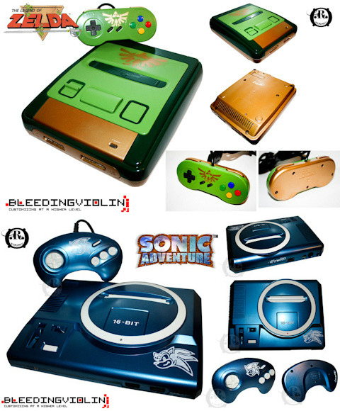 albotas:  Custom Zelda Famicom and Sonic Genesis Consoles by Ricepuppet Ricepuppet aka Bleeding Violin customizes new and retro consoles that you can order on commission. While he has plenty of customs under his belt, this Zelda themed Famicom and Sonic themed Sega Genesis are by far my faves.