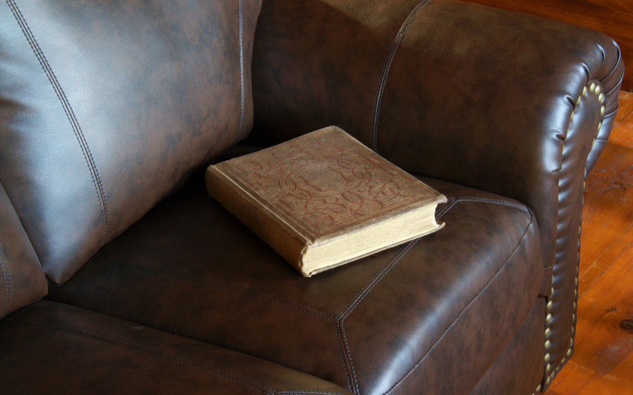 A book, carelessly left behind, on a sofa