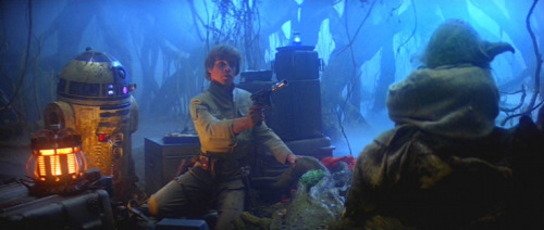 gunsandposes:  Luke: I don't know. I feel like…Yoda: Feel like what?Luke: Like we're being watched.Yoda: Away put your weapon. I mean you no harm.