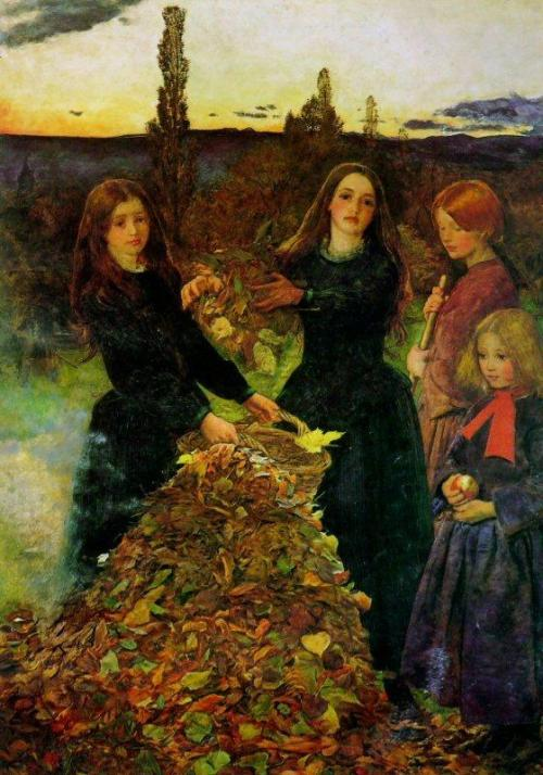 cystallineambermoments:  Autumn Leaves painted by Sir John Everett Millais, 1856  You expected to be sad in the fall. Part of you died each year when the leaves fell from the trees and their branches were bare against the wind and the cold, wintery light. But you knew there would always be the spring, as you knew the river would flow again after it was frozen. When the cold rains kept on and killed the spring, it was as though a young person died for no reason. — Ernest Hemingway, A Movable Feast