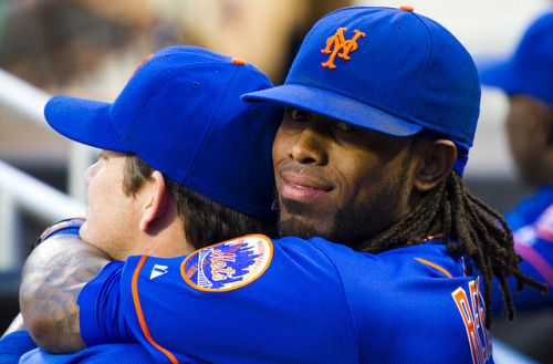 sportsnetny:  Jose Reyes hugs Jason Isringhausen by Michael G. Baron on Flickr.