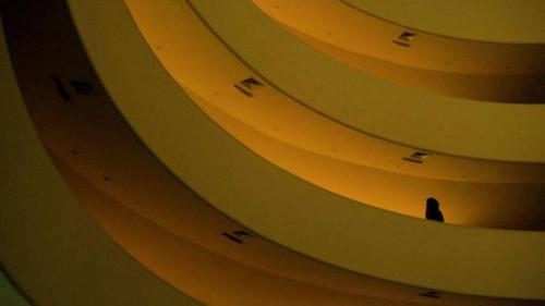 """ Lonely Woman At the Guggenheim In Banana Yellow ."" 2009 