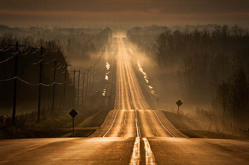 sunsurfer:  Misty Highway, Ontario, Canada  photo by rayofevolution