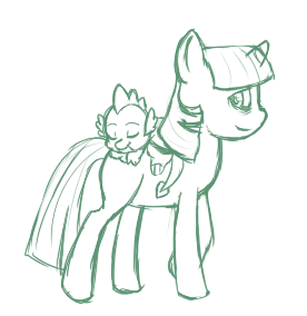 wecameforyourdead:  Working on a picture of Twilight Sparkle and Spike, because goddammit I fucking love these two. Headcanon-wise, she's in a motherly relationship with Spike. Or a big sister relationship. Whichever I feel is cuter at the moment.