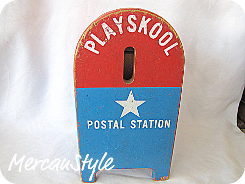 amazing wooden playskool postal station… shabby chic and patriotic :) relisted in my etsy shop http://www.etsy.com/listing/62470265/reduced-vintage-playskool-postal-station