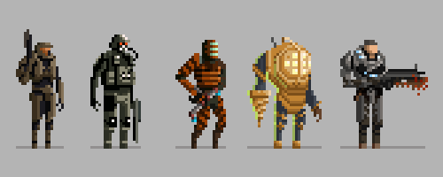 drawsgood:  The lineup of all the pixel video game characters I created for High Score Society.