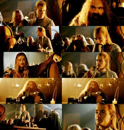 "l-o-t-r:  ""I told you, he can't handle his liquor."" (Gimli falls over)"