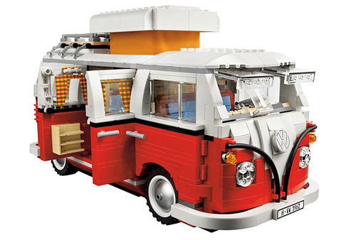 "Made of 1,322 LEGO parts, this 1962 T1 Camper will set you back a  cool $120 but if you're a former hippie or VW enthusiast then you won't  be disappointed with this replica. With a pop-up roof, hippie-inspired  interior color scheme, a lava lamp and a T-shirt in the window that says  ""Make LEGO models, not war"" you're ready to relive the golden age of  rock. The camper will be available in October."