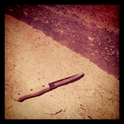 Oh, that? Just a kitchen knife lying there in the middle of the street at 11pm at night. No big deal.