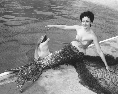 mothgirlwings:  Smiley the porpoise and mermaid showgirl at Marineland Of The Pacific in Palos Verdes, CA - 1959
