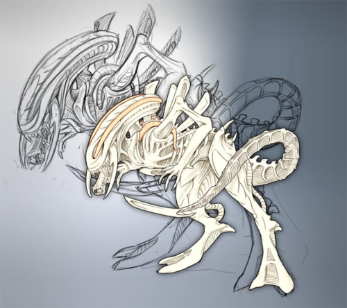 White Xenomorph by yamainu on deviantART What the 'newborn' from Alien: Resurrection was supposed to look like
