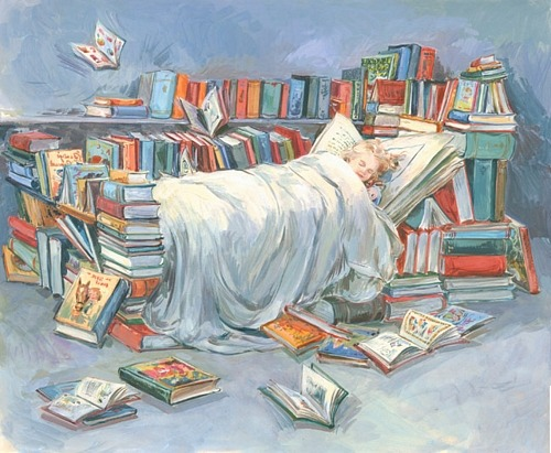 bibliolectors:  Sleeping with the books / Durmiendo con los libros (ilustración de Claire Fletcher)