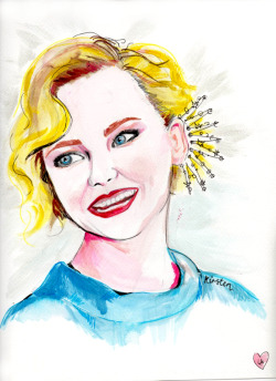 louloulovesdrawing:  Another commissioned painting (Kirsten Dunst), you can buy the original via Audrey Grace.