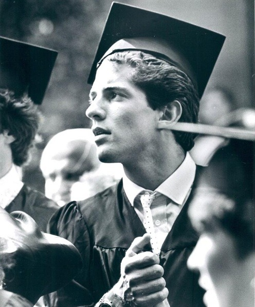 John F. Kennedy, Jr. (22) at his graduating from Brown University in 1983.