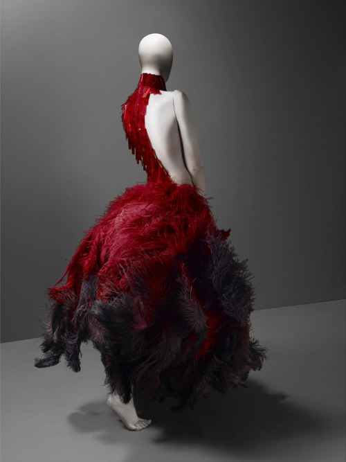 autoentropy:  VOSS, spring/summer 2001 Red and black ostrich feathers and glass medical slides painted red Courtesy of Alexander McQueen Photograph © Sølve Sundsbø / Art + Commerce