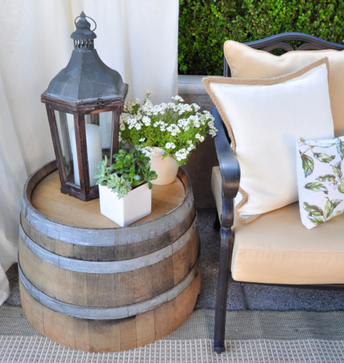 Half Wine Barrel as Coffee Table