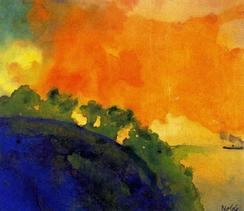 Emil Nolde, Mountain Slope Over Sea. It's important to be heroic, ambitious, productive, efficient, creative, and progressive, but these qualities don't necessarily nurture the soul. The soul has different concerns, of equal value: downtime for reflection, conversation, and reverie; beauty that is captivating and pleasuring; relatedness to the environs and to people; and any animal's rhythm of rest and activity.  ~ Thomas Moore, The Re-Enchantment of Everyday Life