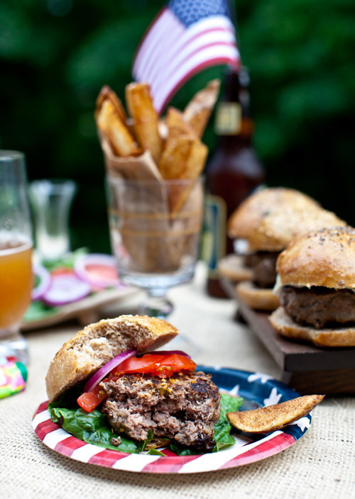 gastrogirl:  buffalo hamburgers with whole wheat buns.
