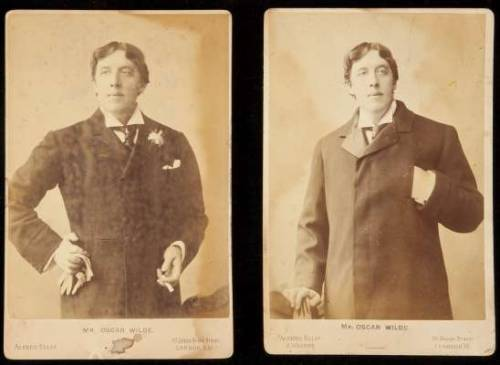"Photographs of Oscar Wilde London ca. 1890's.  Two albumen cabinet card photographs, each approximately 6½x4¼"". Two handsome portrait photographs of Wilde, one on the studio card of Alfred Ellis, 20 Upper Baker Street, the other on the card of Alfred Ellis & Walery, 51 Baker Street."