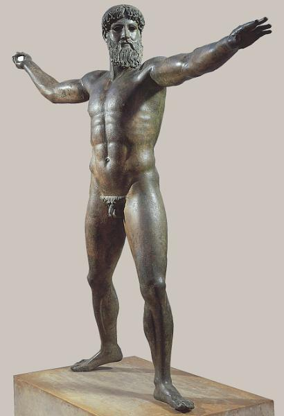 Early Classical period (480-450 BCE) Zeus (or Poseidon?), from the sea off Cape Artemision, Greece, ca. 460-450 BCE.  A huge development from the stiff postures of the archaic (600-480 BCE) kouros to nude athletes, movement, more naturalistic poses, bronze materials and contrapposto (weight shift).  Other famous early classical sculptures: Myron's Discus Thrower (ca. 450 BCE)