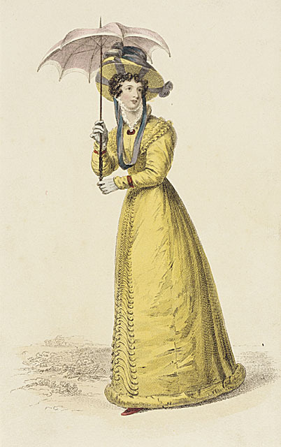 Ackermann's Repository, Walking Dress, July 1826.  Bright cheerful color, adorable parasol, and a big hat!  What's not to love?