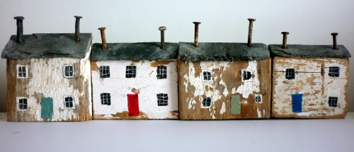 carnetimaginaire:  Kirsty Elson, Cottages (driftwood, found objects) (via)