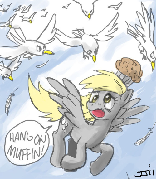 """A flock of upset birds chasing after (pony) Derpy"""