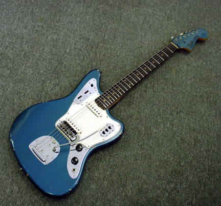 1960's Fender Jaguar. Complete with that little bit of chipped paint around the edges that just seems to make Jaguars sound better. It's like 'go-faster' stripes on cars. www.facebook.com/guitarporn www.twitter.com/guitarporn
