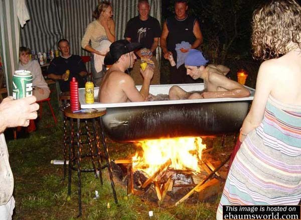 REDNECK PHOTO OF THE WEEK Redneck Hot Tub. A girl I dated in high school told me she was related to the people in this infamous ebaumsworld photo. Looking back, I assume she was BS'ing me, but at the time I was very impressed. haha