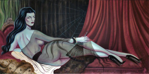 "hyaenagallery:  ""Le Vamp Odalisque"" Based on         Ingres' La         Grande Odalisque (1814) by Sara Ray 30""x15"" unframed oil on canvas #lowbrow"