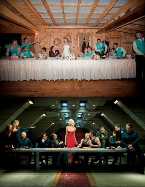 theirish:  (via Battlestar Galactica Wedding Photo)  This is adorable! And something I'd totally do!