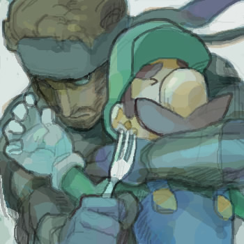 whatqsees:  Luigi srsly pissed off Snake