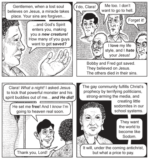 From the fevered mind of Jack Chick. Just in case you need something to make you throw up.