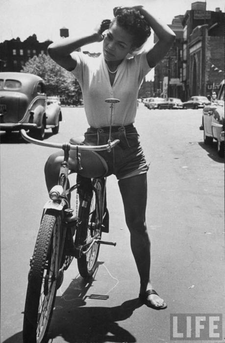 Ms. Eartha riding her bike somewhere…people love pics of Ms. Kitt on bikes…  There're so many! westindians:  Eartha Kitt in 1952 ph. Gordon Parks