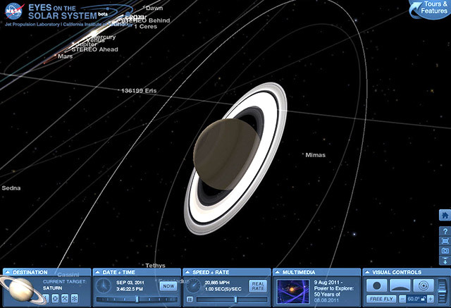 "NASA Web App Lets You Control Space & Time in 3D  NASA has released its ""Eyes on the Solar System"" 3D environment, a  free web browser-based application that lets you navigate a 3D version  of the solar system. The app uses video game technology to let you  control your point of view from anywhere in our solar system, speeding  up time so you can see the motion of the planets, their satellites and NASA spacecraft."