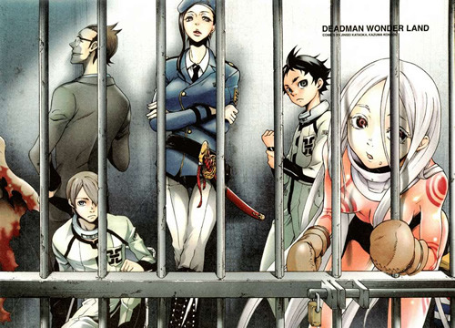 Deadman Wonderland. I'm halfway through the series and it is awesome. Twisted, sick, and awesome.