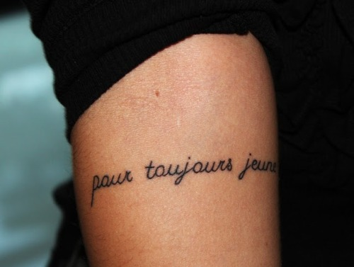 "fuckyeahtattoos:  It means ""forever young"" and I think it turned out really great. I love it. It was done abroad."