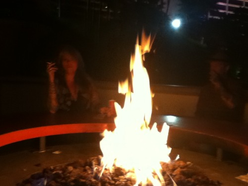 By the fire at the Flamingo in Las Vegas!