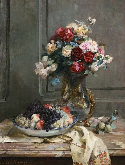 Julie Marest Still Life with Flowers and Fruit 19th century