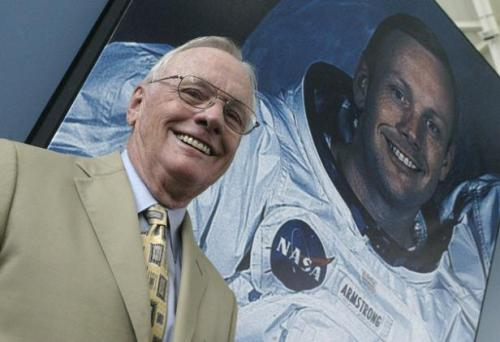 nasaphotobombs:  Neil Armstrong is photobombed by himself.  does this go onto the Neil Armstrong By Himself blog also?