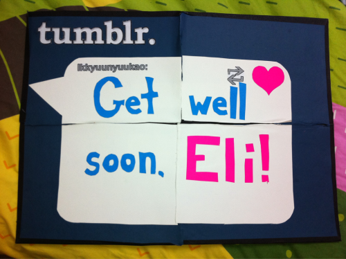 sevencolorkiss:  ikkyuunyuukao:  This sign will be at KissMe Day. I made it to be from all the KissMes on Tumblr, so reblog this and we'll make a list of digital signatures!  this is so adorable! i hope he sees it hehe ^^ get better soon eli ♥ ♥ ♥