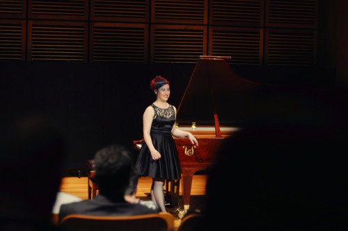 "anguswilkinson:  Sally Whitwell in Recital at the Sydney Conservatorium of Music, performing the piano music of Phillip Glass and other 'minimalist' composers including the film composer Michael Nyman, and Yann Tiersen well known for the soundtrack of Amélie.Her debut album 'Mad Rush - the piano music of Phillip Glass' is utterly marvellous and available on iTunes.   ""utterly marvellous""? Gosh, I'm blushing!"